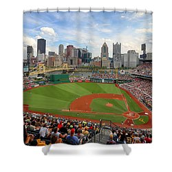 Shower Curtain featuring the photograph Pnc Park 2014 by Emmanuel Panagiotakis