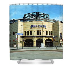 Pnc Park - Pittsburgh Pirates Shower Curtain by Frank Romeo