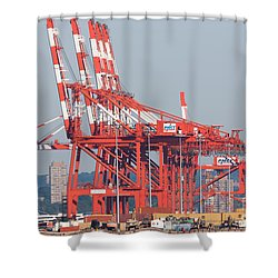 Pnct Facility In Port Newark-elizabeth Marine Terminal I Shower Curtain by Clarence Holmes
