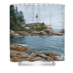 Point Atkinson Lighthouse And Rocky Shore Shower Curtain