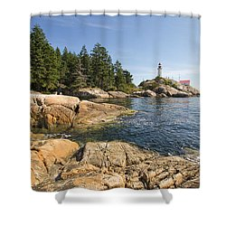 Shower Curtain featuring the photograph Point Atkinson Lighthouse In Vancouver Bc by JPLDesigns