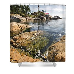 Shower Curtain featuring the photograph Point Atkinson Lighthouse In Vancouver Bc Vertical by JPLDesigns