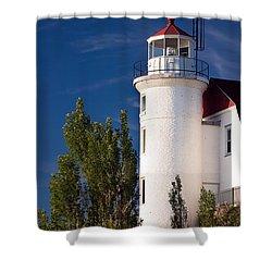 Point Betsie Lighthouse Michigan Shower Curtain by Adam Romanowicz