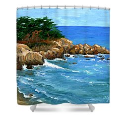 Point Lobos Coast Shower Curtain by Alice Leggett