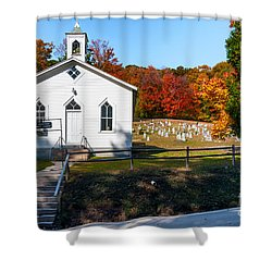Point Mountain Community Church - Wv Shower Curtain by Kathleen K Parker