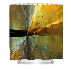 Point Of Impact In Copper And Green Shower Curtain