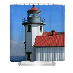 Point Robinson Light House Shower Curtain by E Faithe Lester