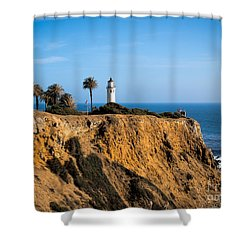 Shower Curtain featuring the photograph Point Vicente Lighthouse by Eleanor Abramson
