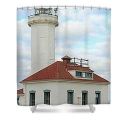 Point Wilson Lighthouse Shower Curtain by E Faithe Lester