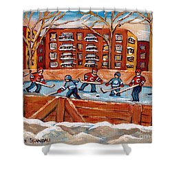 Pointe St. Charles Hockey Rink Southwest Montreal Winter City Scenes Paintings Shower Curtain by Carole Spandau