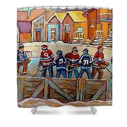 Pointe St. Charles Hockey Rinks Near Row Houses Montreal Winter City Scenes Shower Curtain by Carole Spandau
