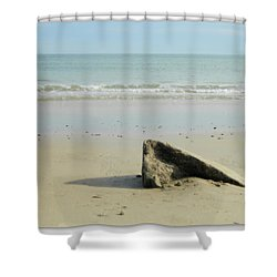 Pointed Rock At Squibby Shower Curtain by Kathy Barney
