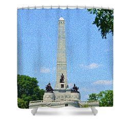 Shower Curtain featuring the digital art Pointelisticlincoln's Tomb  by Luther Fine Art