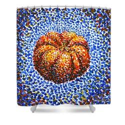 Pointillism Pumpkin Shower Curtain