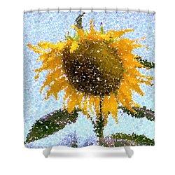 Pointillist Sunflower In Sun City Shower Curtain