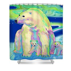 Polar Bear Aurora Shower Curtain