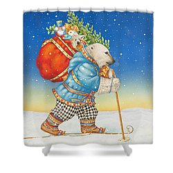Polar Bear Santa Claus Shower Curtain