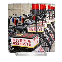 Police Bicycles Shower Curtain by Ethna Gillespie
