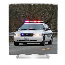 Police Escort Shower Curtain by E Faithe Lester