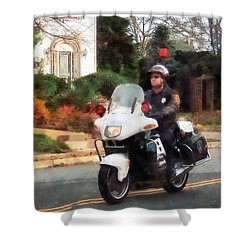 Police - Motorcycle Cop On Patrol Shower Curtain by Susan Savad
