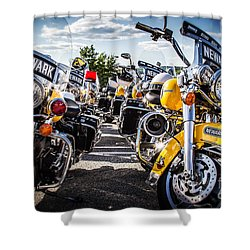 Shower Curtain featuring the photograph Police Motorcycle Lineup by Eleanor Abramson