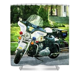 Police - Police Motorcycle Shower Curtain by Susan Savad