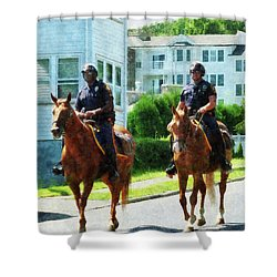 Police - Two Mounted Police Shower Curtain by Susan Savad