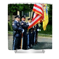 Policeman - Police Color Guard Shower Curtain by Susan Savad