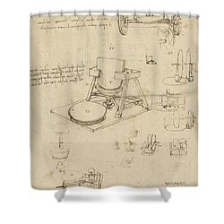 Polishing Machine Formed By Two Wheeled Carriage From Atlantic Codex Shower Curtain by Leonardo Da Vinci