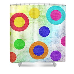 Polka Dot Panorama - Rainbow - Circles - Shapes Shower Curtain by Andee Design