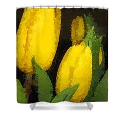 Polka Dot Yellow Tulips Shower Curtain by Barbara Griffin