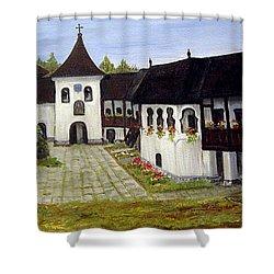 Polovragi Monastery Romania Shower Curtain by Dorothy Maier