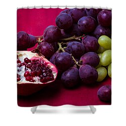 Pomegranate And Green And Red Grapes Shower Curtain by Alexander Senin