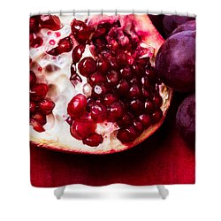 Pomegranate And Red Grapes Shower Curtain by Alexander Senin