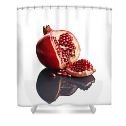 Pomegranate Opened Up On Reflective Surface Shower Curtain by Johan Swanepoel