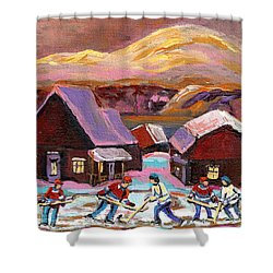 Pond Hockey Cozy Winter Scene Shower Curtain by Carole Spandau