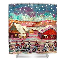 Pond Hockey Game 3 Shower Curtain by Carole Spandau