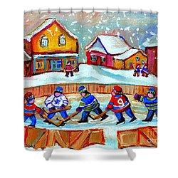 Pond Hockey Game Shower Curtain by Carole Spandau