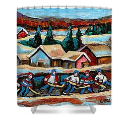 Pond Hockey Game In The Country Shower Curtain by Carole Spandau