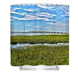 Ponquogue Bridge Shower Curtain