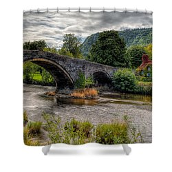 Pont Fawr 1636 Shower Curtain by Adrian Evans