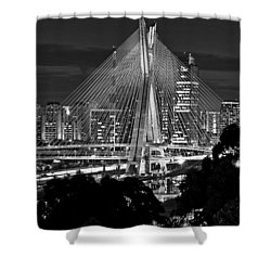 Sao Paulo - Ponte Octavio Frias De Oliveira By Night In Black And White Shower Curtain
