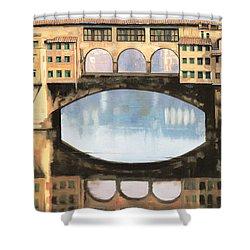 Ponte Vecchio A Firenze Shower Curtain by Guido Borelli