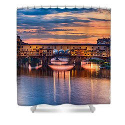 Ponte Vecchio At Sunset Shower Curtain