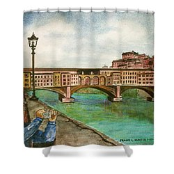 Ponte Vecchio Florence Italy Shower Curtain by Frank Hunter