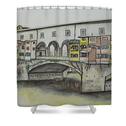 Shower Curtain featuring the painting Ponte Vecchio Florence Italy by Malinda  Prudhomme