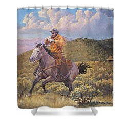 Pony Express Rider At Look Out Pass Shower Curtain by Rob Corsetti