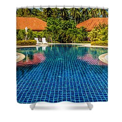 Pool Time Shower Curtain by Adrian Evans