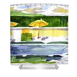 Poolside Shower Curtain by Kip DeVore