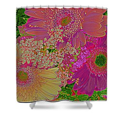 Pop Art Daisies Shower Curtain by Dora Sofia Caputo Photographic Art and Design